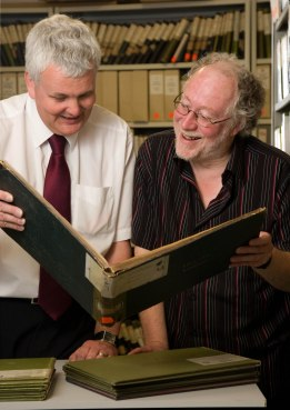 Picture for Birmingham Forward. Register office. Chris Upton (right) with genealogist John Yates looking through records in the Register Office archive.