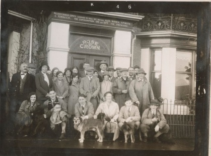 Members of the Cherry Brandy Club, meeting outside the New Rose and Crown. 26 December 1930 [MS 610]