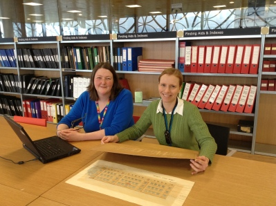 Corinna and Nicola processing accessions in the Wolfson Centre