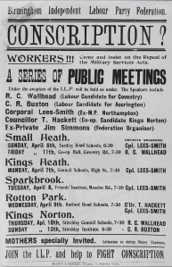 Anti conscription leaflet Political and Trade Union Archive Jim Simmonds Papers volume 2