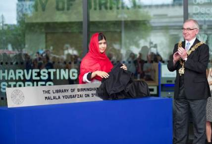 Malala Yousafzai, teh 16 year old education activist and campaigner for the rights of women and girls around the globe, opened the Library of Birmingham, Tuesday 3 September 2013.