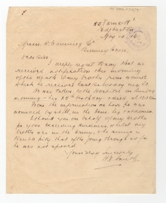 Letter to Canning from the brother of Private Smith, thanking them
