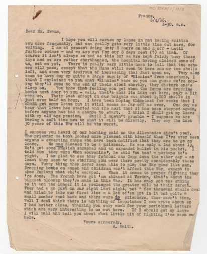 Letter to Canning Ltd from Private Smith, April 1916. [MS 2326/1/19/8]