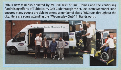 Father Taaffe Memorial Bus featured in the Irish Welfare and Information Centre Newsletter, July 2008.. [MS 4755 Acc. 2015/022]