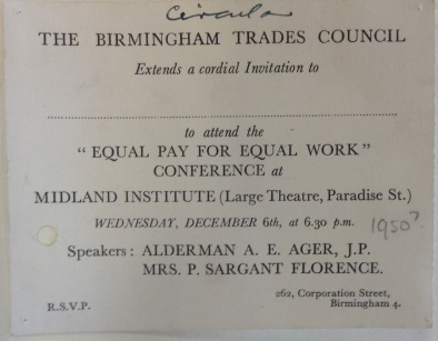 Bham Trades Council Circulars 'Equal Pay for Equal Work Conference' c.1950 [LF 61.52]