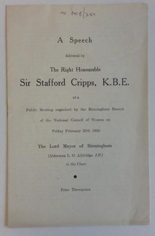 Speech by Sir Stafford Cripps at a public meeting in Birmingham, 25 Feb 1944 [MS 841B/251-2]