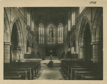 WK-A7-74 St Peter and St Paul's parish church, Aston, Birmingham n.d. [c1890] Interior view of east end of church before restoration.