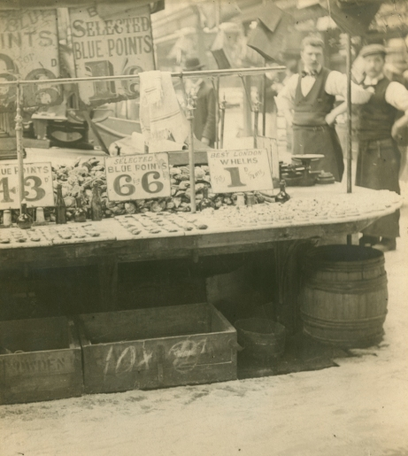 Bromide print. Photographed in 1901. Interior view showing oyster stall. [WK/B11/1227]