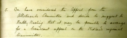 Hall Green PM minutes Dec 6 1931 re allotments