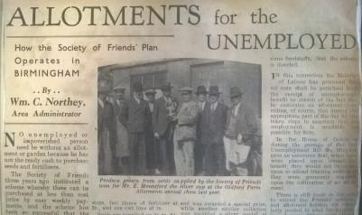 'Allotments for the unemployed', Birmingham Gazette, March 1935 (MS 396/1)