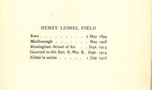 Biographical details of Henry Field, taken from Poems and Drawings [L07.3 COR]