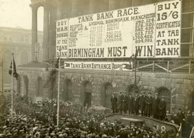 Image showing 'Tank Week' to raise money towards the war effore. (1918)