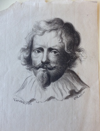 Drawing by Gregory Watt of a painting of a man's head by Van Dyck, nd. c. 1793 [MS 3219/7/Part 3/48]