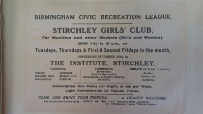 Birmingham Civic Recreation League. 1916 - 1920.  [LF 36.99 408343]