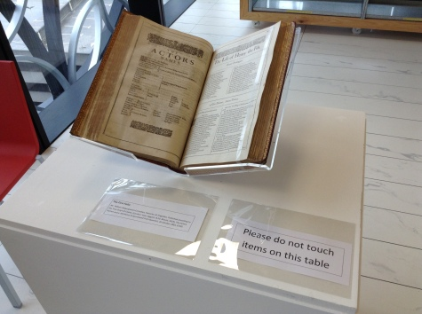 Shakespeare First Folio - on display in the Wolfson Centre on Saturday (under strict supervision by our Conservator!)