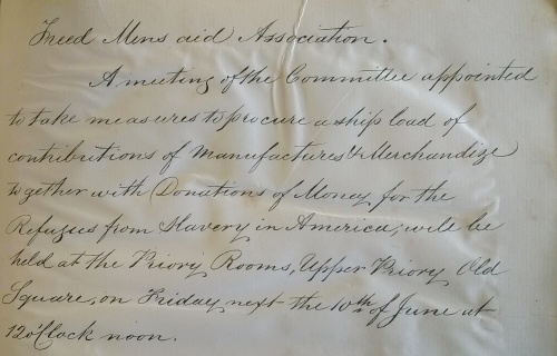Invitation to a meeting of the Freed Men's Aid Association, June 1864 [ref MS 3338]