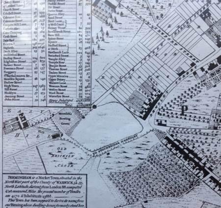 Samuel Bradford's survey of Birmingham, 1750