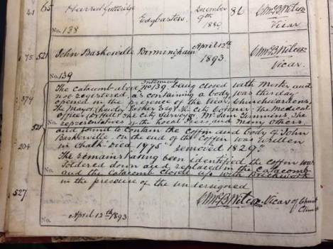Entry showing the 'rediscovery' of John Baskerville. [EP 26/2/4/1]