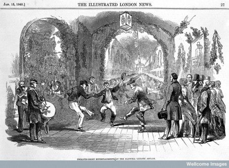 L0000640 The twelth night entertainment Credit: Wellcome Library, London. Wellcome Images images@wellcome.ac.uk http://wellcomeimages.org The twelth night entertainment in Hanwell Lunatic Asylum. 1848 Illustrated London News Published: 1848 Copyrighted work available under Creative Commons Attribution only licence CC BY 4.0 http://creativecommons.org/licenses/by/4.0/