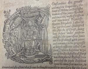 Decorated letter showing Elizabeth I, Foxe's Book of Martyrs [AF094/1563/3].
