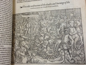 Woodcut showing the Martyrdom of John Lambert and including a speech bubble.