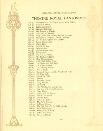 Pantomimes perforemd at the Theatre Royal, Birmingham in 'The Theatre Royal, Birmingham 1774 - 1924: A Short History' by R. Compton Rhodes. [BCol 28.1]