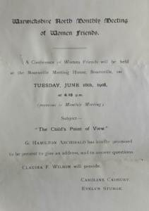 Notice of a Conference on 'The Child's Point of View', 1908 (ref SF/2/1/1/2/1/9)