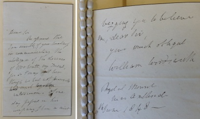Letter of condolence from Wordsworth to James Patrick Muirhead [Ref. MS 4285/2]