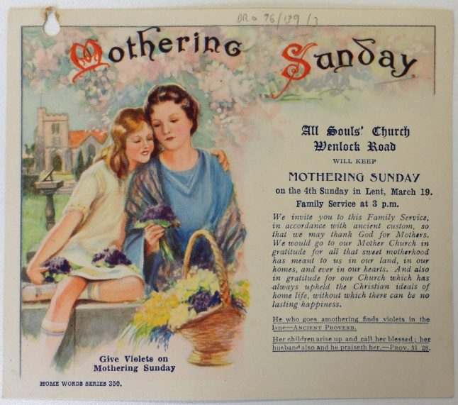 Invitation to a Mothering Day service at All Souls' Church, Witton [Ref. EP 76/139/1]