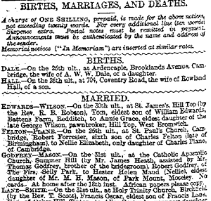 Extract page from Birmingham Daily Post, 1 January 1890, listing births, marriages and deaths