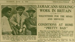 Birmingham Mail news clipping about Jamaicans seeking work in Britain, with photograph of 3 Jamaican men, 22nd June 1948